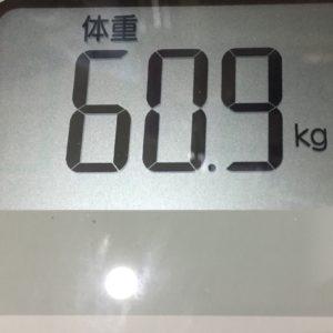 体幹リセットダイエット6日目の体重