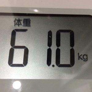 体幹リセットダイエット21日目の体重