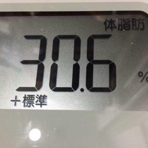 体幹リセットダイエット31日目の体脂肪