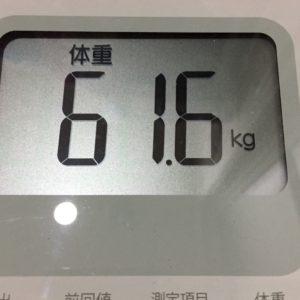 体幹リセットダイエット62日目の体重