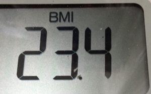 体幹リセットダイエット72日目のBMI
