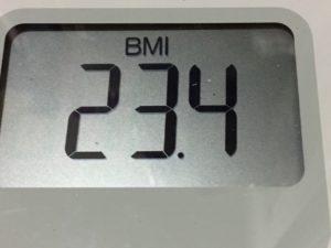 体幹リセットダイエット74日目のBMI