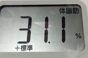 1ヶ月間健康ダイエット3日目の体脂肪