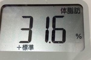 1ヶ月健康ダイエット21日目の体脂肪