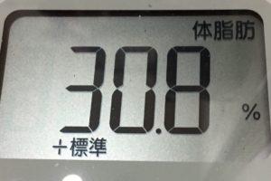 1ヶ月健康ダイエット25日目の体脂肪